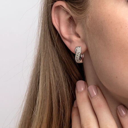 Huggie Earrings with 1/2 Carat TW of Diamonds in 10ct White Gold