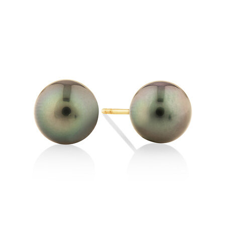 9mm Cultured Tahitian Pearl Stud Earrings In 10kt Yellow Gold