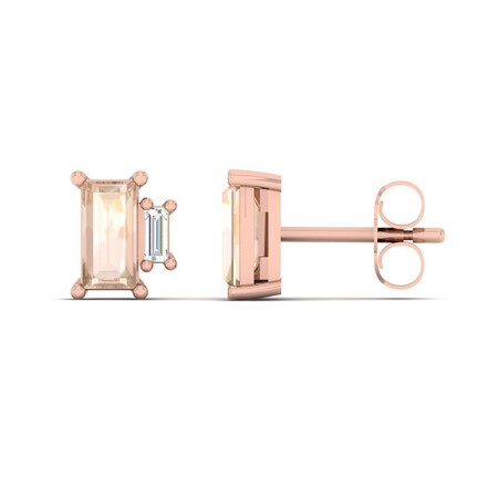 Stud Earrings with Diamond & Natural Morganite in 10kt Rose Gold