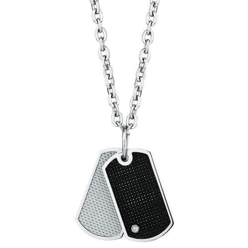 Men's Diamond Set Pendant in Carbon Fibre & Stainless Steel