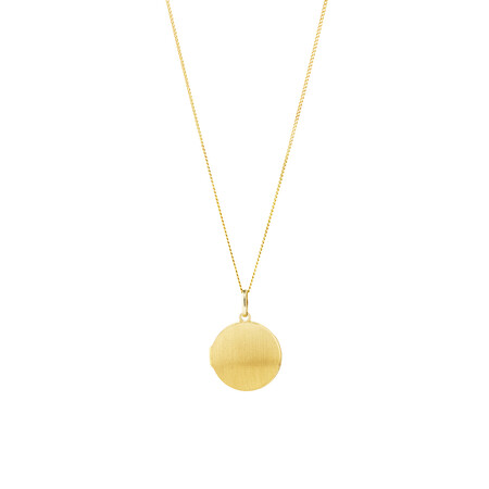 Brushed Round Locket Pendant in 10kt Yellow Gold