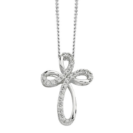 Cross Pendant with Cubic Zirconias in Sterling Silver