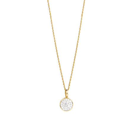Pave Circle Pendant with 0.19 Carat TW of Diamonds in 10kt Yellow Gold