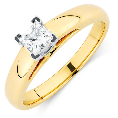Certified Solitaire Engagement Ring with a 0.45 Carat Diamond in 14kt Yellow & White Gold