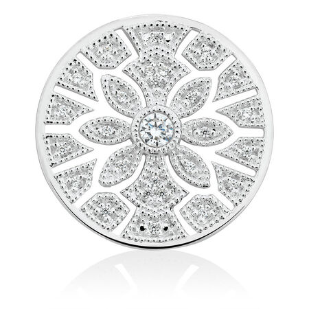 Art Deco Flower Coin Locket Insert with Cubic Zirconia in Sterling Silver