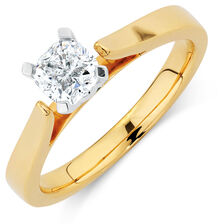 Certified Solitaire Engagement Ring with a 0.70 Carat Diamond in 14kt Yellow & White Gold
