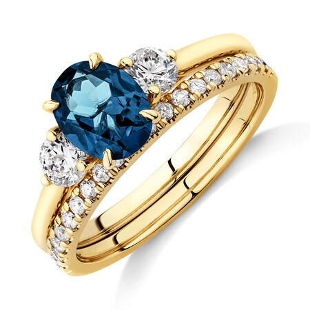 Bridal Set with Topaz & 0.60 Carat TW of Diamonds in 14kt Yellow Gold