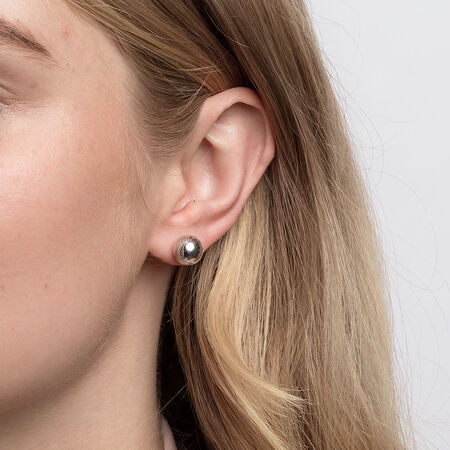 Patterned Ball Stud Earrings in 10kt White Gold