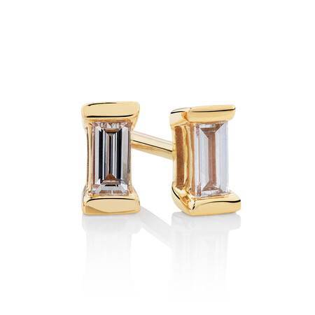 Rectangle Stud Earrings with 0.12 Carat TW of Diamonds in 10kt Yellow Gold