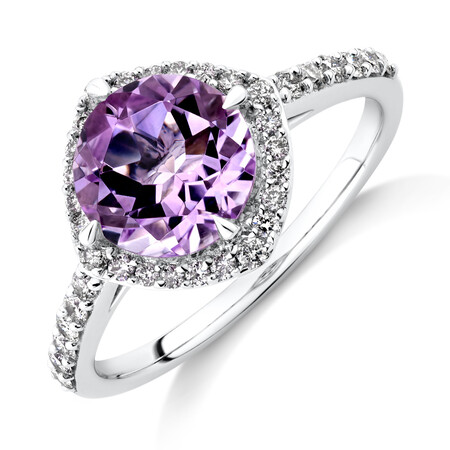 Halo Ring with Amethyst & 0.34 Carat TW of Diamonds in 10kt White Gold