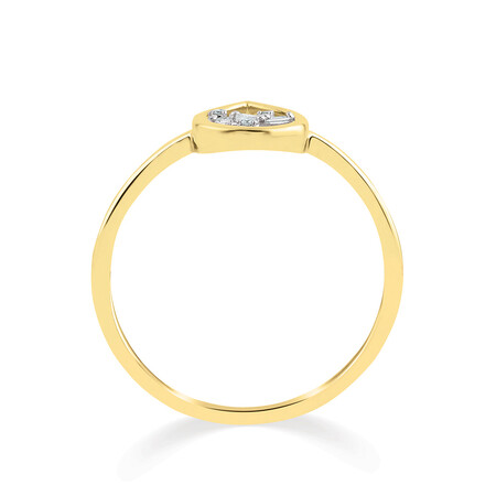 Pear Ring with Diamonds in 10kt Yellow Gold