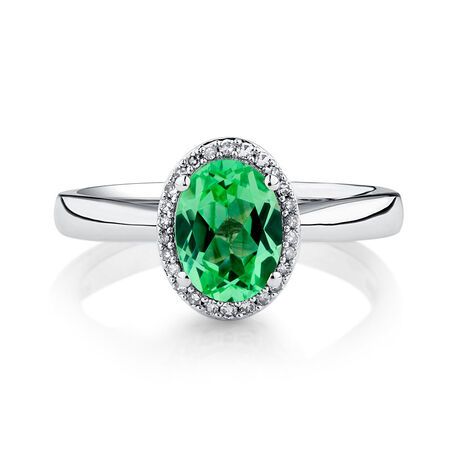 Ring with Created Green Sapphire & Diamonds in 10kt White Gold