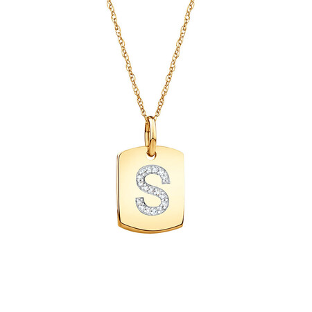 """S"" Initial Rectangular Pendant With Diamonds In 10ct Yellow Gold"