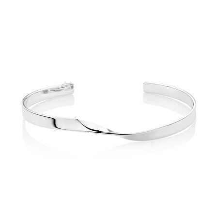 Twist Cuff Bangle in Sterling Silver