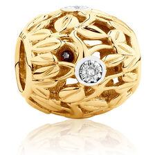 Diamond Set Leaf Pattern Charm in 10kt Yellow Gold