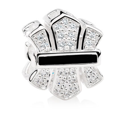 White Cubic Zirconia & Sterling Silver Art Deco Charm