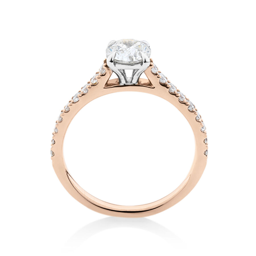 Solitaire Engagement Ring with 1.25 Carat TW of Diamonds in 14kt Rose & White Gold