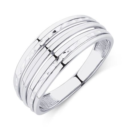Patterned 10kt White Gold Ring
