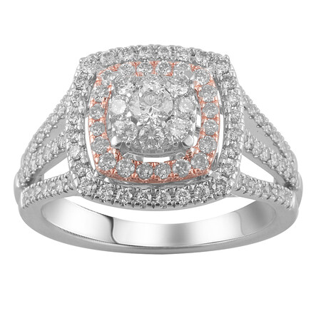 Halo Ring with 1.00 Carat TW of Diamonds in 14kt Rose & White Gold