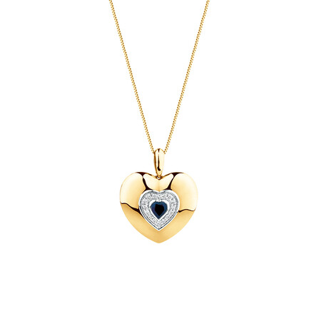 Heart Pendant with Blue Sapphire & Diamonds in 10kt Yellow Gold