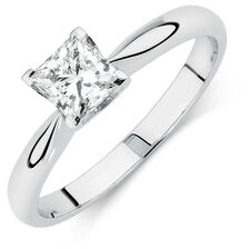 Evermore Certified Solitaire Engagement Ring with a 0.70 Carat Diamond in 18kt White Gold