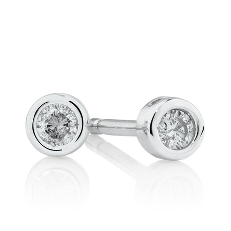 Round Stud Earrings with Diamonds in Sterling Silver