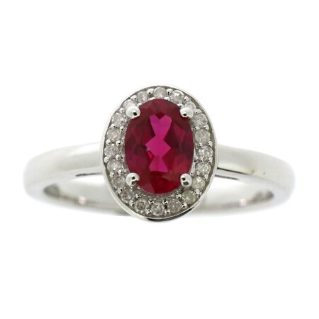 Ring with Created Ruby & Diamond in Sterling Silver