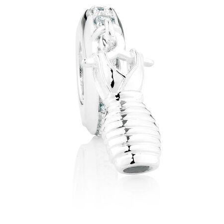 Cubic Zirconia & Sterling Silver Dress Dangle Charm