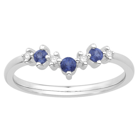 Stacker Ring with Created Sapphire & Diamond in 10kt White Gold