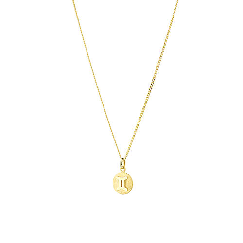 Gemini Zodiac Pendant in 10kt Yellow Gold