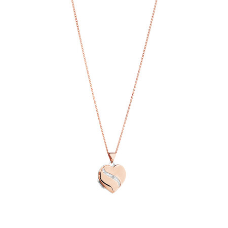 Diamond Heart Locket in 10kt Rose Gold & Sterling Silver
