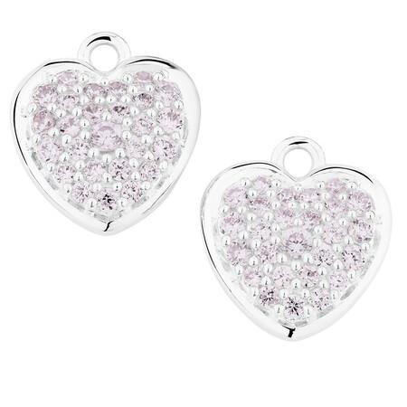 Purple Cubic Zirconia Heart Earring Drops