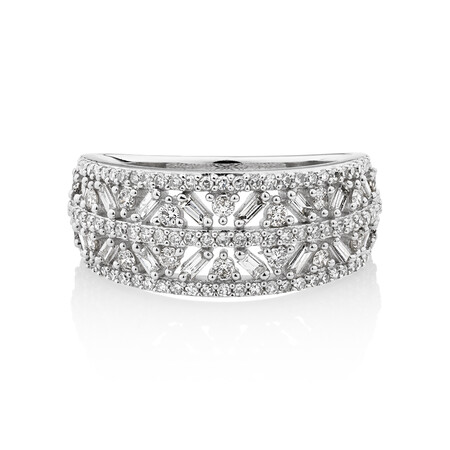 Multi Row Ring with 0.75 Carat TW of Diamonds in 10kt White Gold