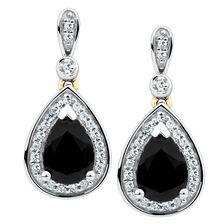 Drop Earrings with Sapphire & 0.19 Carat TW of Diamonds in 10kt Yellow & White Gold