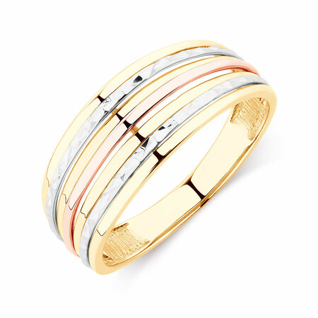 Patterned Tri-Tone Ring in 10kt Yellow, White & Rose Gold