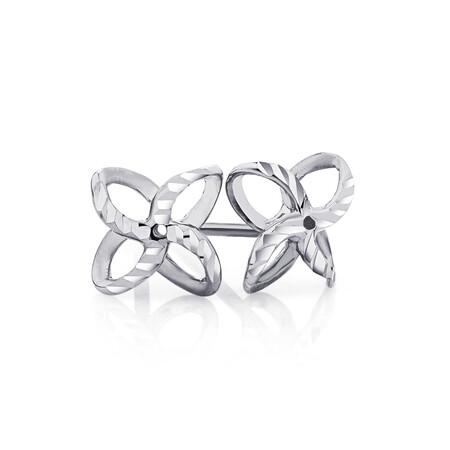Petal Stud Earrings in 10kt White Gold
