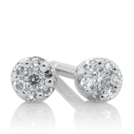Stud Earrings with Diamonds in 10kt White Gold