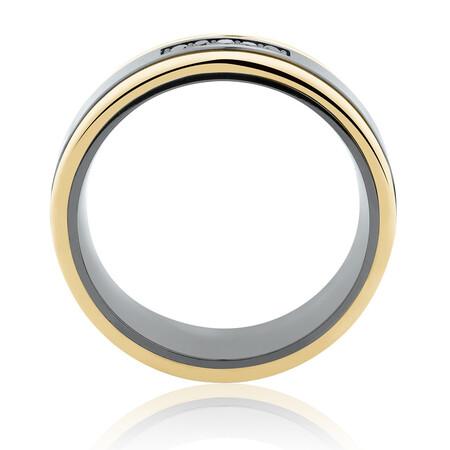 7mm Ring with Black Diamonds in 10ct Yellow Gold & Black Titanium