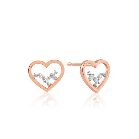 Heart Stud Earrings With Diamonds In 10kt Rose Gold
