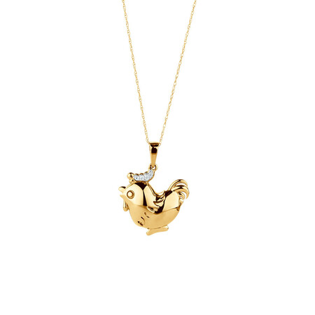 Rooster Pendant with Diamonds in 10kt Yellow Gold