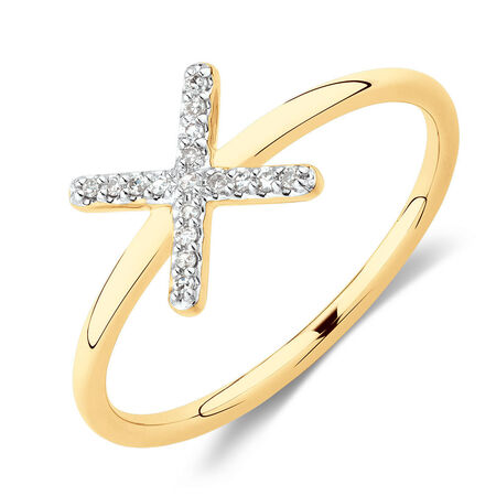 X Ring with Diamonds in 10kt Yellow Gold