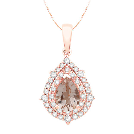 Pendant with Morganite and Diamond in 10kt Rose Gold