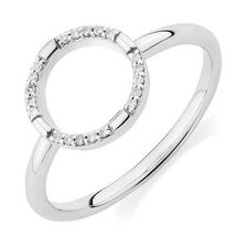 Open Circle Ring with Diamonds in Sterling Silver