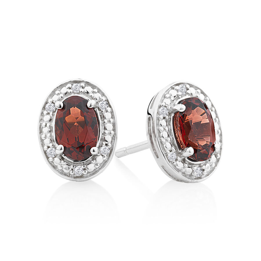 Halo Earrings with Garnet and 0.04 TW of Diamonds in Sterling Silver