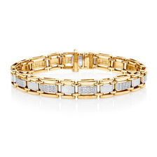 Men's Bracelet with 1/2 Carat TW of Diamonds in 10kt Yellow Gold
