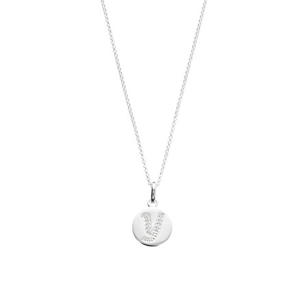 Y Initial Pendant with Cubic Zirconia in Sterling Silver