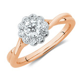 Southern Star Engagement Ring with 1/2 Carat TW of Diamonds in 14kt Rose & White Gold