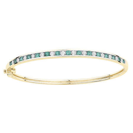 Bangle with Created Emerald & Diamonds in 10kt Yellow Gold