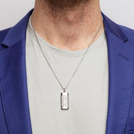 Men's Weave Pattern Pendant in 925 Sterling Silver