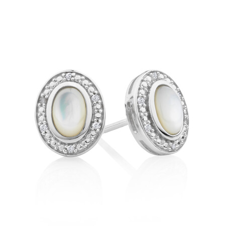 Halo Earrings with Mother of Pearl and 0.04 Carat TW of Diamonds in Sterling Silver